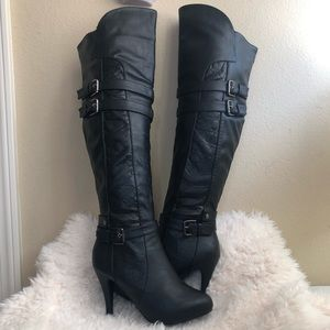 Top moda Black knee high boots